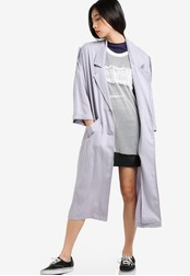 TOPSHOP grey Washed 80's Duster Coat TO412AA54NIFMY_1