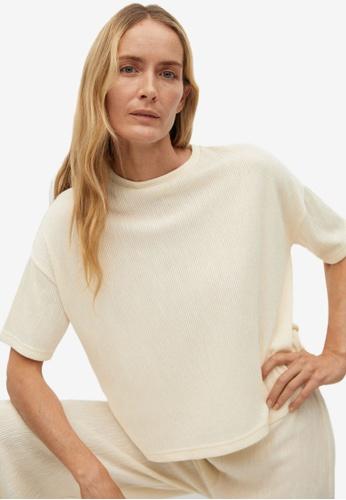 Mango beige Pleated T-Shirt 2E155AAE19FDF7GS_1