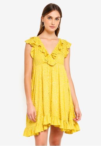 Glamorous yellow Ruffled Midi Dress 3180BAAA47B528GS_1