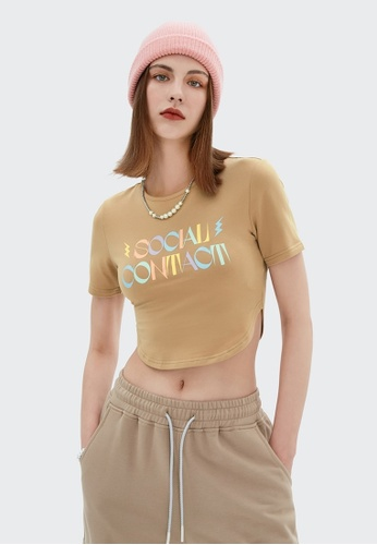 Twenty Eight Shoes Cropped Printed Short Sleeve T-shirt 6308GS21 4AD24AAC2D374AGS_1