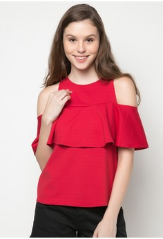 Carly Cold Shoulder Ruffle Top