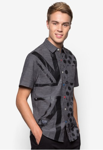 彩色鈕扣印花短袖襯esprit 工作衫, 服飾, 襯衫