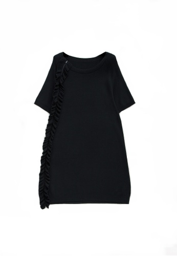 KLAPS black Solid Tone Midi Knitted Dress with Ruffles Details EE544AA2B4DB92GS_1