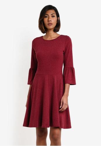Dorothy Perkins red Flute Sleeve Dress DO816AA0RY19MY_1