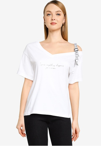 GUESS white Short Sleeve V-Neck Anita Tee 8C148AA90AF278GS_1