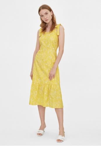 Pomelo yellow Purpose Beach Print Bow Tie Dress - Yellow 7B9E8AA177D1B6GS_1