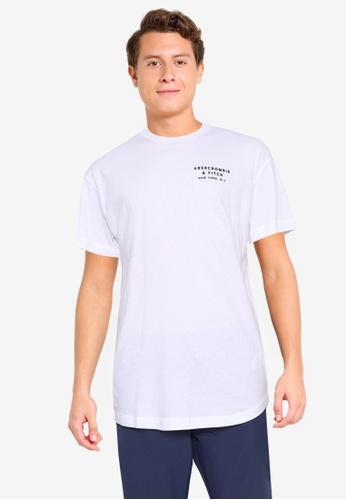 Abercrombie & Fitch white Emea Curved Hem Tee 6FA45AA2B7D850GS_1