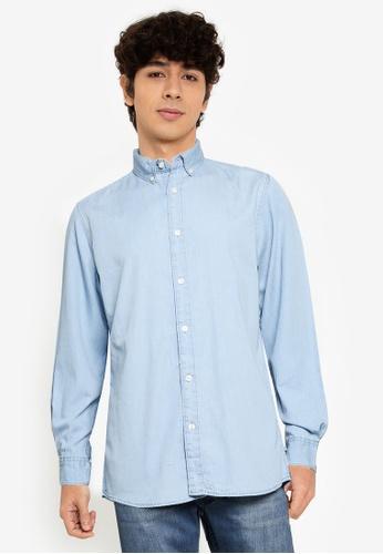 Springfield blue Lightweight Denim Shirt DA41CAADB497E7GS_1