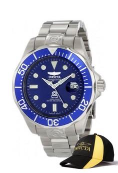 Pro Diver Men 47mm Case Stainless Steel Strap Watch 3045 & FREE Baseball Cap