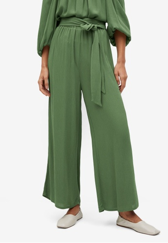Mango green Palazzo Trousers with Tie 7D446AAF0609E4GS_1