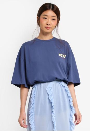 Stylenanda navy Logo Print Side Slit T-Shirt 53D8AAA77B6EDAGS_1