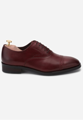 Earnest & Collective red Stratford II Bordeaux Red Brogued Cap Toe Oxford DCFE1SHC361C93GS_1