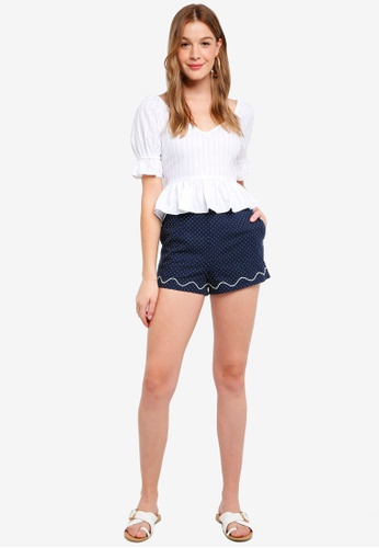 The Fifth Label blue and navy Village Shorts 4CD01AA6789244GS_1