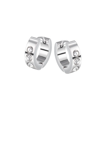 Glamorousky white Simple Hip-hop Geometric Round Cubic Zirconia 316L Stainless Steel Stud Earrings 8D812ACF9714B1GS_1