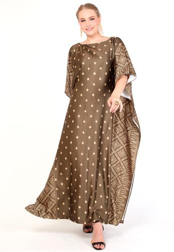 Kanzi by liza yahya brown Kanzi Exclusive Short Sleeve Songket Kaftan 5D349AAA87FDADGS_1