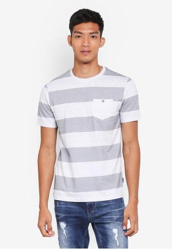 Burton Menswear London navy Navy Block Stripe T-Shirt 05257AAC62FAEEGS_1