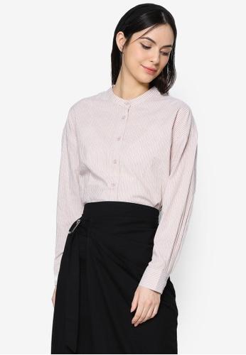 ZALIA BASICS brown Mandarin Collar Striped Shirt D5E7CAA9729B48GS_1