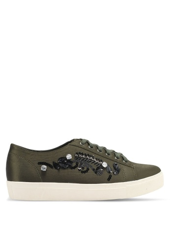 Something Borrowed green Embellished Sneakers 017C7SH07DD054GS_1