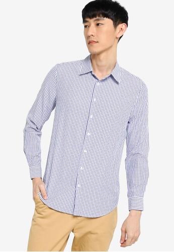 ZALORA BASICS blue Slim Fit Checked Shirt 77E52AAEFC1B83GS_1