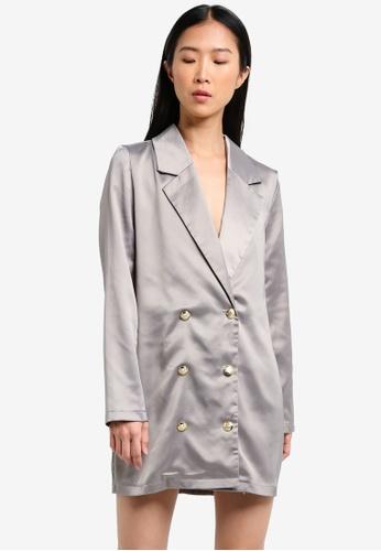 MISSGUIDED grey Satin Button Front Blazer Dress MI511AA0RXXPMY_1