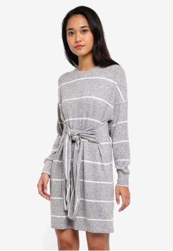 TOPSHOP grey Stripe Cut And Sew Mini Dress 5796BAA333199EGS_1