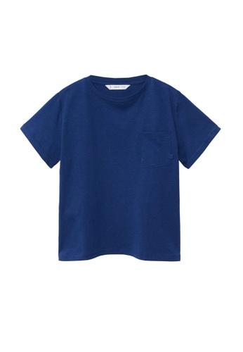 MANGO KIDS blue Organic Cotton Pocket T-Shirt 79993KA308C14EGS_1