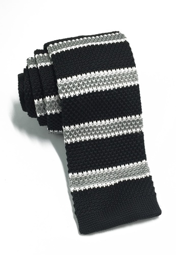 Splice Cufflinks Purl Series Grey & White Stripes Black Knitted Tie SP744AC51KUQSG_1