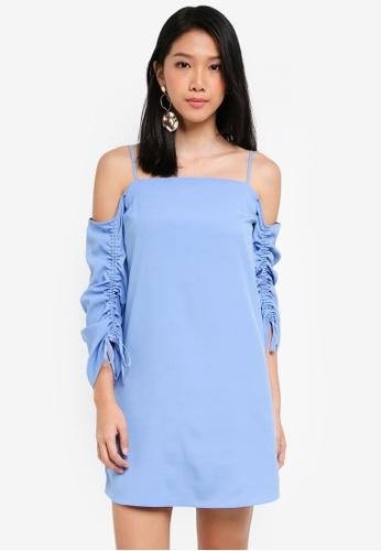 River Island blue Light Blue Cold Shoulder Swing Dress BC093AAFEDFD4FGS_1