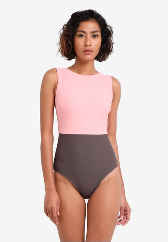 Piha brown and pink Textured Solid High Neck Retro Swimsuit PI734US0RU2KMY_1