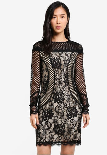 ZALORA black Fitted Lace Dress 8389FAAE86F221GS_1