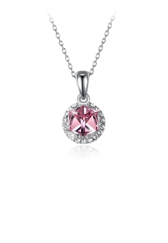 Glamorousky pink 925 Sterling Silver Sparkling Sparkling Fashion Elegant Romantic Sweet Round Pendant and Necklace with Pink Austrian Element Crystal A84E9AC77C286AGS_1