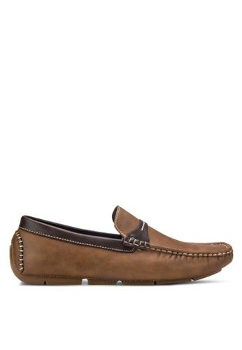 UniqTee brown Moc-Toe Penny Loafers UN097SH31RFCMY_1