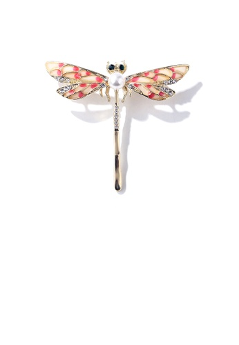 Glamorousky white Fashion and Elegant Plated Gold Pink Dragonfly Imitation Pearl Brooch with Cubic Zirconia 17BC2ACD331560GS_1