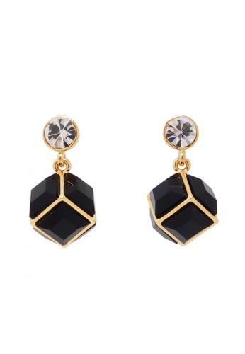 Jaysa Collection black Black Cube Earrings With Crystal Stud JA875AC0GH6BSG_1