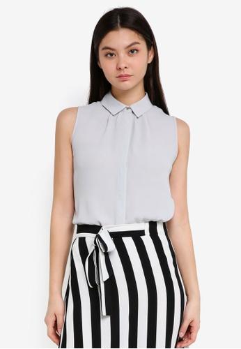 Dorothy Perkins silver Petite Silver Sleeveless Shirt 8D783AA407E64FGS_1