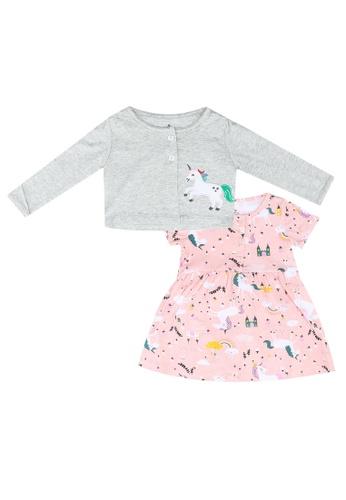 Milliot & Co. grey Alex Girls' Dress With Cardigan 2B480KAB14ACD4GS_1
