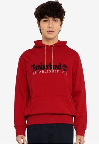 Timberland red Outdoor Heritage Linear Logo Hoodie 4FEC1AAB6CCBF6GS_1