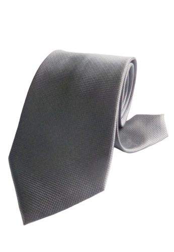 Well Suited silver Microcheck Necktie 49D06AC87E04DFGS_1