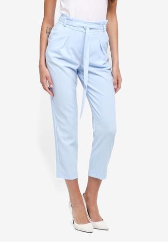 Miss Selfridge blue Petite Paperbag Trousers C1858AAC33D864GS_1
