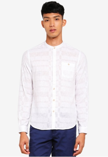 OVS white Mandarin Collar Shirt AFDC5AA5580C4FGS_1
