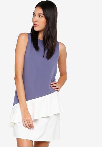 ZALORA grey and multi Asymmetric Ruffle Dress DAB0DAAC911BA8GS_1