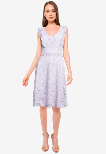 Dorothy Perkins purple Lilac Lace Midi Dress E19A2AA3D0C529GS_1