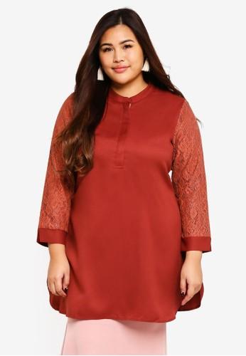 BYN brown Plus Size Muslimah Blouse 695FBAA902DCA6GS_1