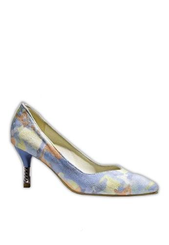 Sunnydaysweety blue and multi Women's High-heeled  Shoes Pointed Printing C032721BL 904FESHDAD5DDFGS_1