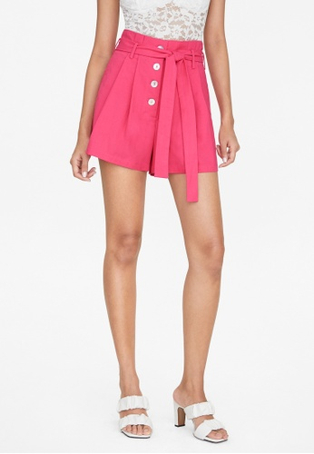 Pomelo pink Paperbag Tie Waist Shorts - Pink 5709EAA4B23485GS_1
