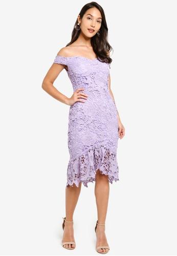 Floral Lace Bardot Dress