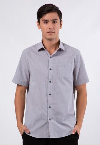 The Executive grey Regular Fit Short Sleeves Shirt FC283AA74DAF3EGS_1