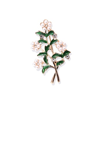 Glamorousky white Fashion and Elegant Plated Gold Floral Imitation Pearl Brooch F4FBAAC42A1807GS_1