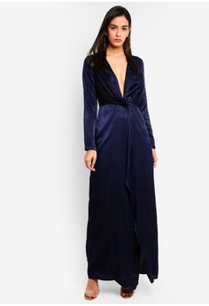 MISSGUIDED navy Wrap Front Maxi Dress E5FE7AAB4163DBGS 1 92816ea86