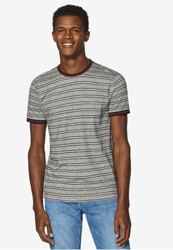 ESPRIT grey Embroidered Stripes Jersey T-Shirt 6FEDBAA04CDE2AGS_1